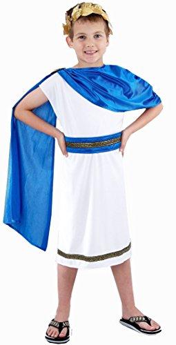 [Global Fashion Big Boys' Costume Fancy Dres Ren Caesar Roman Emperor Outfit Large (10-12 Years) Child Caesar Boy] (Roman Toga Costume For Kids)