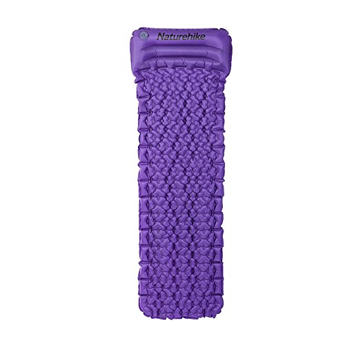 Naturehike UL Inflatable Sleeping Air Cushion Camping Moisture Proof Mat Mattress Pad with Pillow (Purple)