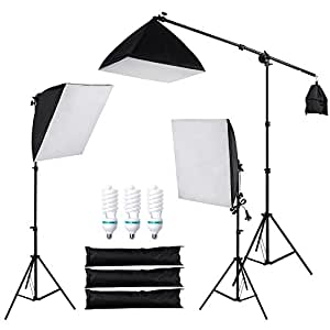 Yescom Photography Soft Box Continuous Lighting Kit Softbox Boom Arm Light Stand 3 Bulb