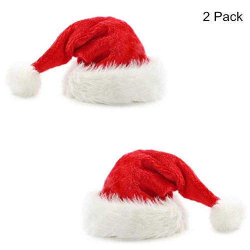 Cayder Santa Hat for Adults Christmas Hats Plush Santa Hat Plush Red Merry Christmas Cap (2 Pack)