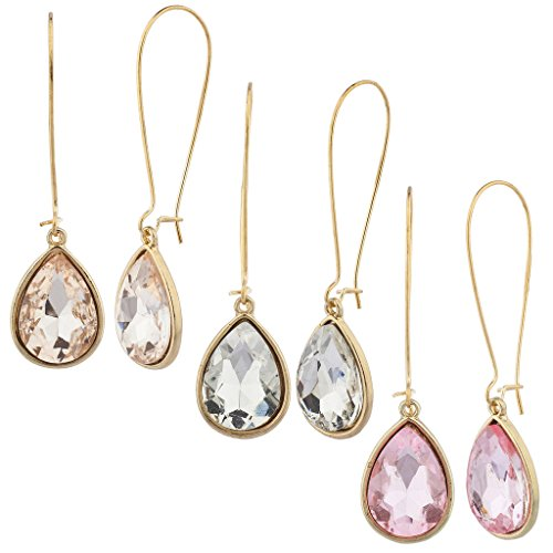 Gold Stone Ring Multi (Lux Accessories Gold Tone Wire teardrop Clear Stone Multi Earring Set (3PCS))
