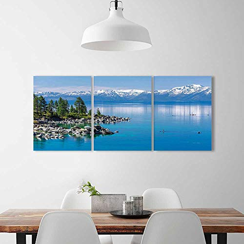 Wall Art Painting Frameless Waters Lake Tahoe Snowy Mountains Pine Trees Rocks Relax Shore Light Blue Posters Wall Decor Gift ()