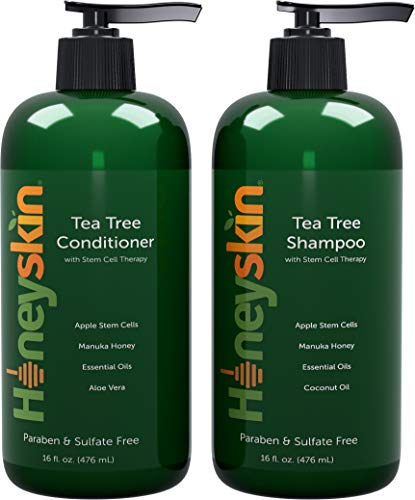 Tea Tree Oil Shampoo Conditioner Set - Manuka Honey, Stem Cell & Coconut - Dandruff & Scalp Acne...
