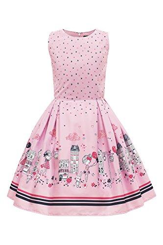 BlackButterfly Kids 'Kira' Vintage City 50's Children's Girls Dress (Pink, 9-10 YRS)