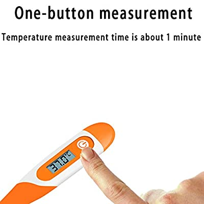JETTINGBUY Digital Body Thermometer Household Waterproof LCD Electronic Underarm Oral Rectal Temperature Measure Monitor for Home (Orange): Toys & Games