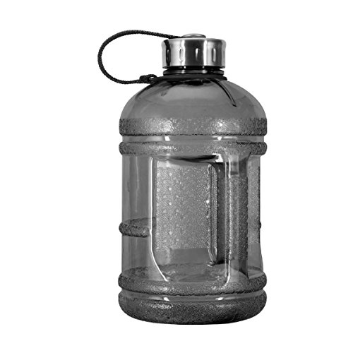 1/2 Gallon (64 oz.) BPA FREE Plastic Water Bottle w/ 48mm Steel Cap (Black) (48 Mm Plastic Cap)