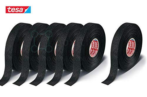 Boxiti Fuzzy Fleece Interior Wire Loom Harness Tape 6 pcs - PET Fleece Tape For Flexibility And Noise Damping In Black - Tesa 51608 19 Mm X 15 Meters: