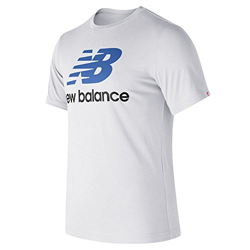 sentials Stacked Logo Shorts Sleeve Tee, White Multi, Medium (New Balance Woven Shirt)