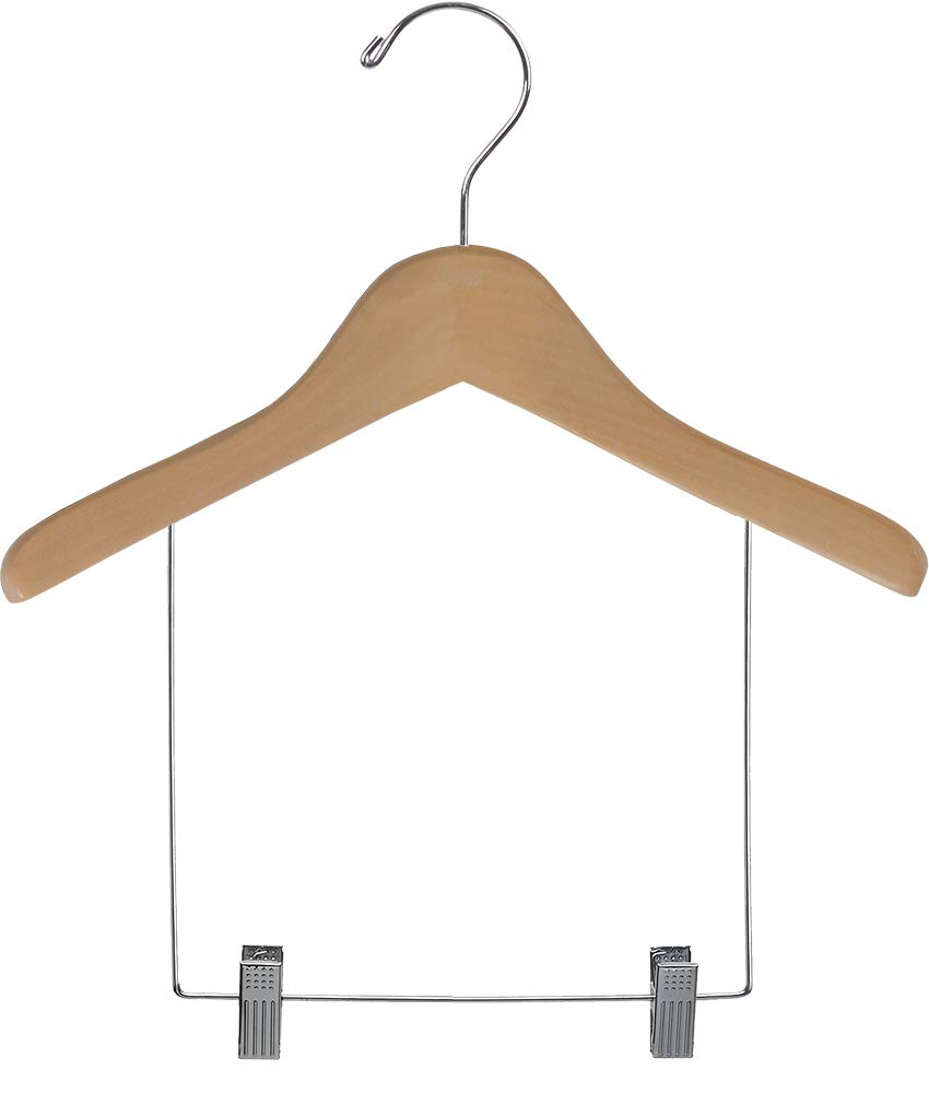 Wooden Children's Display Hangers with Natural Finish, 6 Inch Drop and Adjustable Cushion Clips (Box of 50) by The Great American Hanger Company