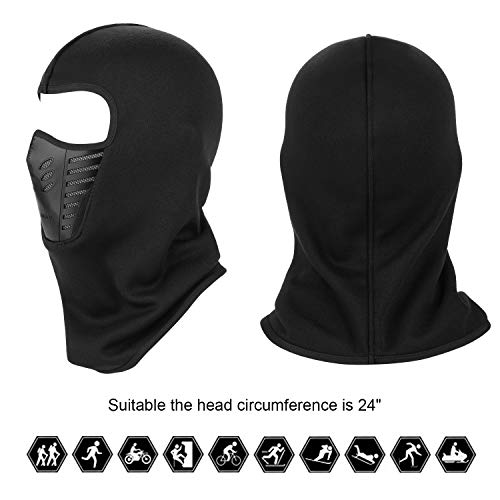 TAGVO Warm Balaclava Face Mask Cover with Breathable Mesh Silicone Panel Adults
