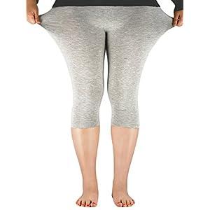 Century Star Women's 3/4 Length Smooth Stretchy Short Pants Plus Size Elastic Waist Sport Capri Leggings Royal Blue US M-US L