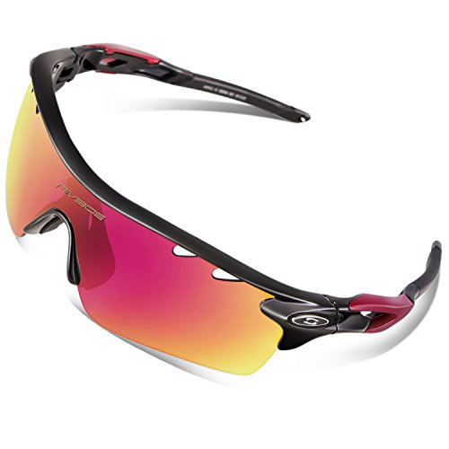 RIVBOS 801 Polarized Sports Sunglasses Sun Glasses with 5 Interchangeable Lenses for Men Women Baseball Cycling Runing (TR Black Ice Red - Sunglasses Flip Baseball