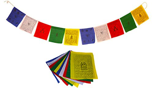 "Juccini Small Tibetan Tranquil Wind Horse Lungta Prayer Flags by Buddhist Flags (Small-Pack of 50(6"" x 6""))"