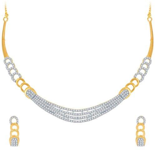 indien Collier Ensemble de bijoux Bollywood Mode de mariage Superbe Or rhodium CZ