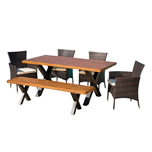 Great Deal Furniture Cassie Outdoor 6 Piece Multibrown Wicker Dining Set with Brown Walnut Finish Light Weight Concrete Table and Bench and Beige Water Resistant Cushions For Sale