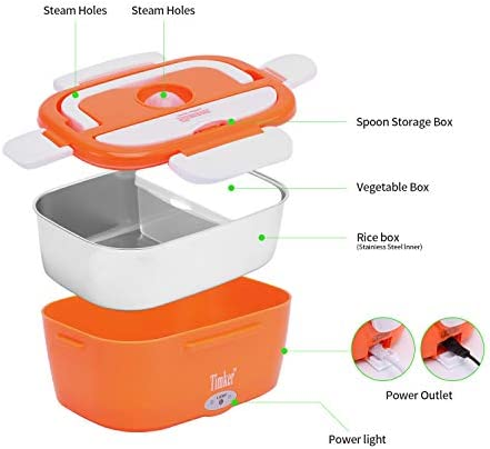 Timker Boîte Chauffante Repas 12V 24V 220V 3 in 1 Chauffage électrique de Voiture Lunch Box Accueil Chauffage électrique Chauffe-Plats Chauffe-Repas pour la Conservation de la Chaleur