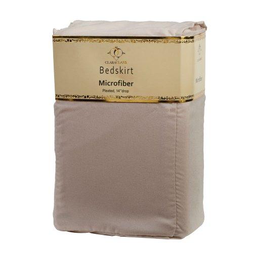 Clara Clark  Supreme 1500 Collection Solid Bed Skirt Dust Ruffle, Queen Size, Beige Cream