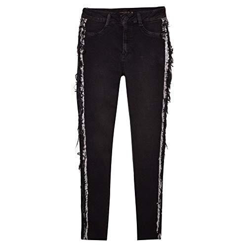 Calça Dudalina Jeans Lateral Desfiada Feminina Calca Feminina Jeans Lateral Desfiada-Jeans Black Escuro-36