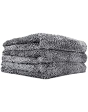 The Rag Company - Eagle Edgeless 600 - Professional Korean 70/30 Blend Super Plush, Microfiber Auto Detailing Towels, Buffing & Polishing, 600gsm, 16in x 16in, Dark Grey (3-Pack)