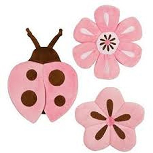 Tiddliwinks Unisex Plush Baby Girl Wall Decor Set Pink (Pink Brown Wall Decor)
