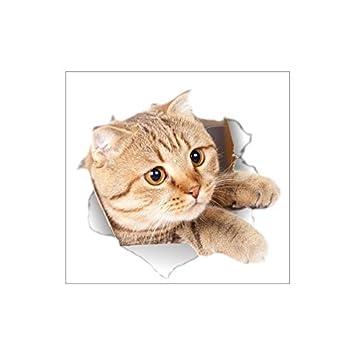 3D Gato Lindo Perro Etiqueta de Aseo Etiqueta de La Pared Agujero ...