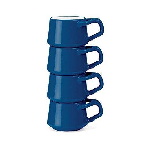 Dansk Kobenstyle 4-Piece Demitasse Cup Set with Rack, Chili Blue