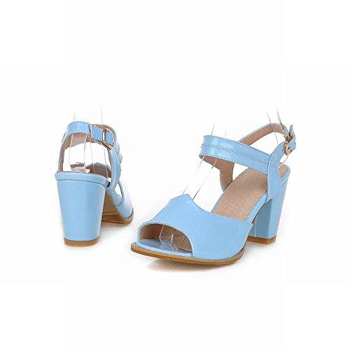 Carol Scarpe Moda Donna Estate Affascinante Chic Fibbia Sandalo Tacco Alto Grosso Blu