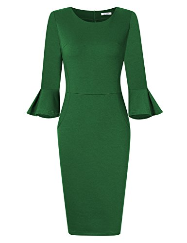 - GlorySunshine Women 3/4 Flare Bell Sleeves Work Bodycon Pencil Dress Vintage Cocktail Party Dresses (XL, Green)