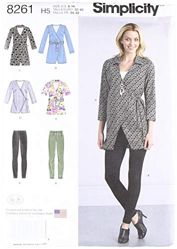 - Simplicity Patterns 8261 Misses' Wrap Tunic in Two Lengths and Knit Leggings, Size: H5 (6-8-10-12-14)