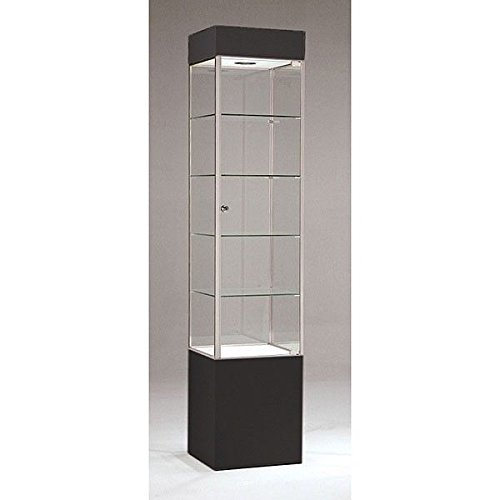 Tower Cabinet Square Shelf Display Metal Frame Assembled Showcase Store Black/Chrome US Made NEW by Bentley's Display