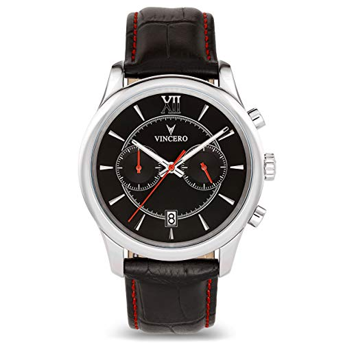 Vincero Luxury Men's Bellwether Wrist Watch - Black/Red dial with Black Leather Watch Band - 43mm Chronograph Watch - Japanese Quartz Movement