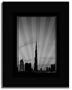 Dubai Skyline Down Town - Black And White No Text F04-m (a1) - Framed