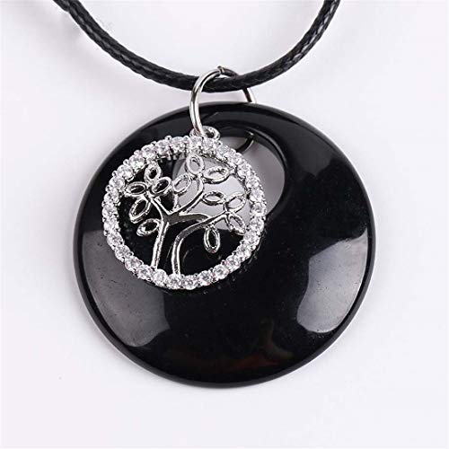 Natural Stone Necklaces Pendants Crystal CZ Beads White Purple Quartz Onyx Tree Of Life Jewellery Gifts Obsidian