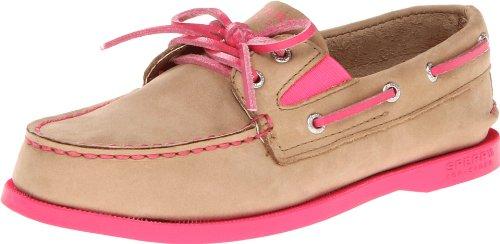Sperry Top-Sider A/O Slip-On Boat Shoe (Little Kid/Big Kid),Linen/Ultra Pink,2 M US Little Kid Linen Leather Footwear