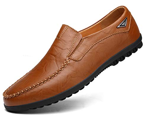 Go Tour Men's Premium Genuine Leather Casual Slip on Loafers Breathable Driving Shoes Fashion Slipper A Brown 10.5/46