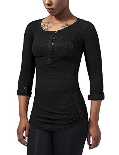Urban Classics Ladies Long Rib Pocket Turnup Tee, Camiseta Para Mujer Negro (Black 7)