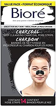 Bioré Deep Cleansing Charcoal Pore Strips Value Pack for Instant Pore Unclogging and Blackhead Removal (14 Cou