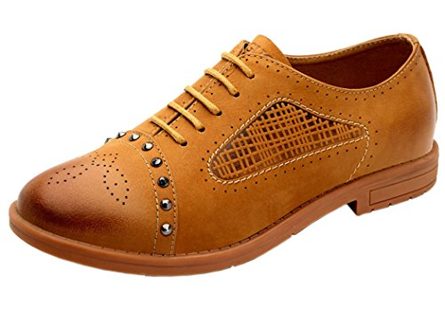Passionow Christmas Women New Style Beautiful Cute Lace-up Cowhide Flats Rivet Shoes(6(M)US,Tan)