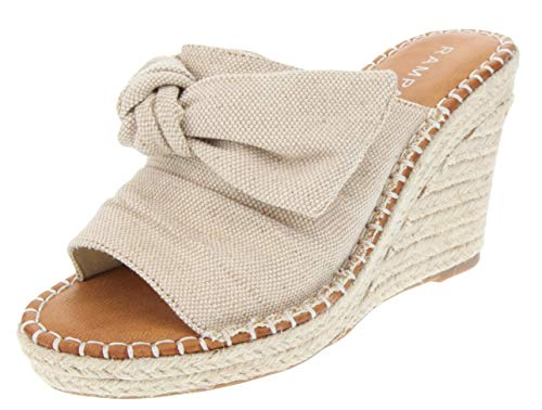 Chair High Bow - Rampage Women's Hannah Espadrille Wedge Slide Sandal with Knotty Bow Detail 9 Natural Metallic
