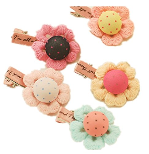 Yunko 8 Pieces Handmade Crocheted Flower Design Hair Clip Hairpin clip For Baby Girls Toddlers Kids Barrettes