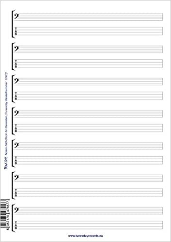 Noten- & Tabulatur-Block für Bassisten - Bass-Notation-TABs ...