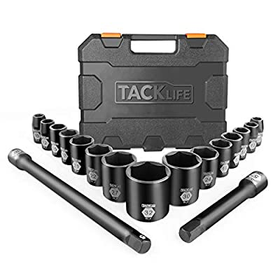 Drive Impact Socket Set, TACKLIFE 17Pcs 1/2-Inch Drive Shallow Impact Socket Set, 6 Pt. Socket Design, 15Pcs Metric Sockets with 2Pcs Extension Bar Set – HIS3A