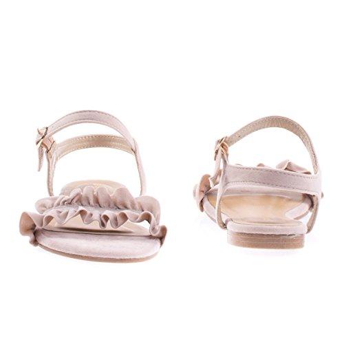 Flat Open Toe Sandal w Ruffled Straps Nudeiks HwzpQtaBS