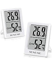 Sonomo Thermo-Hygrometer, 2 Stück Thermometer Innen Hygrometer Digital Raumthermometer Luftfeuchtigkeitsmessgerät mit Hohen Genauigkeit, für Innenraum, Babyraum, Wohnzimmer, Büro Weiß