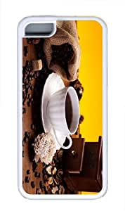 cases glitter Cup Coffee Beans TPU White Case for iphone 5C