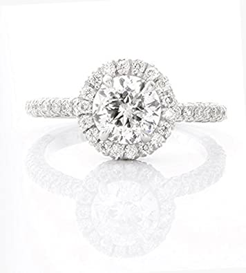 2 Carat Total Weight Round Natural Diamond Engagement Ring Set In 14k White Gold 4 Prong Setting 2 00ct Approx 8 5 Amazon Com