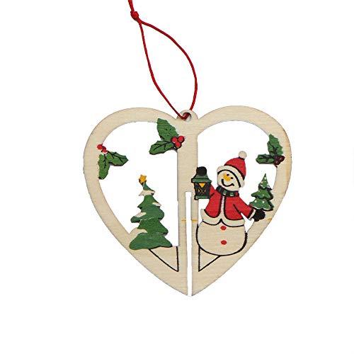 Franterd Christmas Tree Ornaments - Xmas Hanging Accessories Xmas Tree Party Decor 3D Wooden Xmas Tree Xmas Bells Santa Claus -