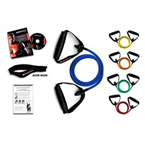 *** LIFETIME REPLACEMENT WARRANTY *** Ripcords Resistance Bands - Power Tension 5 Pack: Exercise Bands, Circuit7 DVD, Door Anchor, Manual