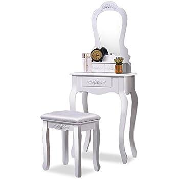 Giantex Bathroom Vanity Wood Makeup Dressing Table Stool Set With Mirror  (Sector Mirror, 3