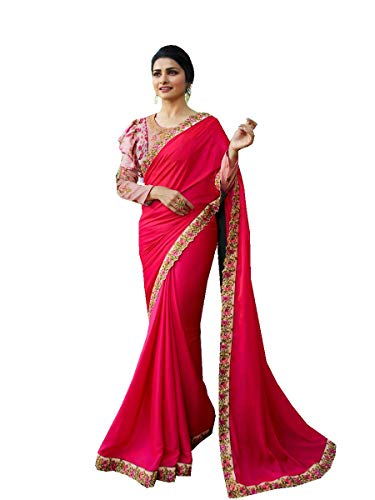 Delisa Fashion Indian Ethnic Bollywood Saree .Party Wear Saree,Pakistani Designer Sari Wedding, Saree for Womens (Pink)